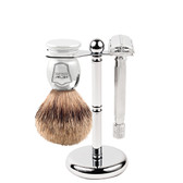 Parker 82R Heavyweight Razor & Pure Badger Brush 3-Piece Shave Set