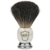 Parker Safety Razor 100% Premium Black Badger Bristle Shaving Brush with Ivory Marbled Handle