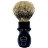 Parker Black Handle Deluxe Pure Badger Mug Shave Brush & Stand