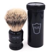 Parker Travel Silvertip Badger Black Shave Brush with Case