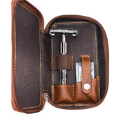 Safety Razor Gift Set  - Parker 22R, Blades & Genuine Leather Double Edge Zippered Case