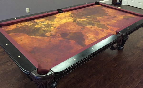 Grunge Map Custom VIVID Pool Table Felt