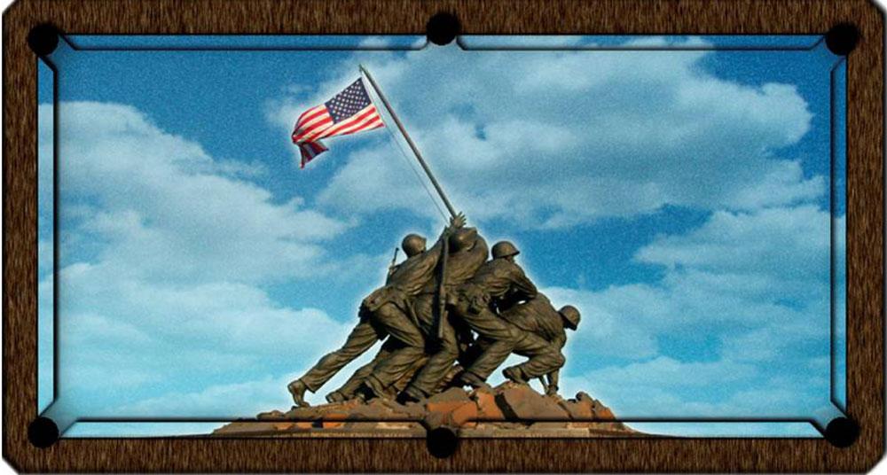 Custom Pool Table Felt - Flag Raising of Iwo Jima