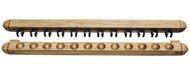 Roman-Style Two-Piece Wall Rack, Oak, 12 Cue