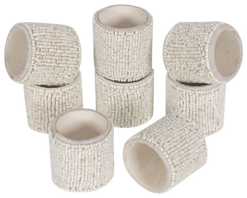 KAF Home Fete Napkin Ring, Eclectic Ivory Beads, Set of 8