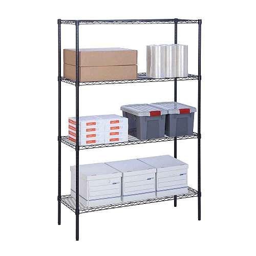 "Honey Can Do® 4 Tier Adjustable Storage Shelving Unit, 350-Pounds Per Shelf, 18""x48""x72"", Black"