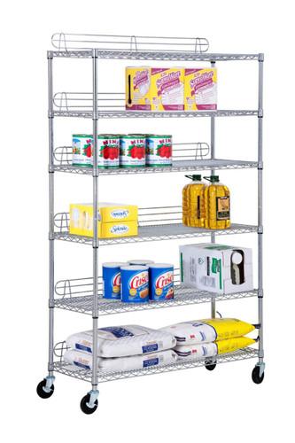 """Honey Can Do® 6 Tier Commercial Grade Adjustable Shelving Unit w/ Wheels 7 Screens, 600-Pounds Per Shelf, 18""""x18""""x72"""", Chrome"""