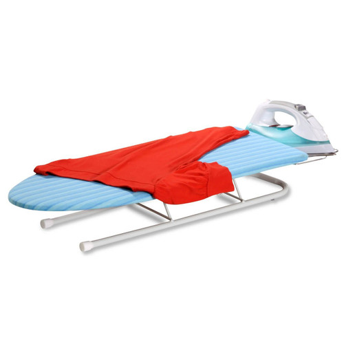 Honey Can Do® Collapsible Tabletop Ironing Board with Pull out Iron Rest, White Frame with Aqua Stripe Cover