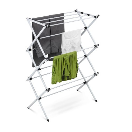 Honey Can Do® Folding 42-Inch Clothes Drying Rack, Silver/White