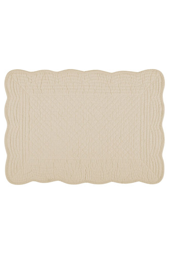 Kaf Home Boutis Placemat, 14 x 20-inches, Flax - Set of 4