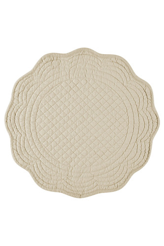 KAF Home Boutis Round Placemat, 14-inches, Flax - Set of 4
