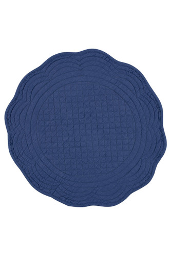 KAF Home Boutis Round Placemat, 14-inches, Navy - Set of 4
