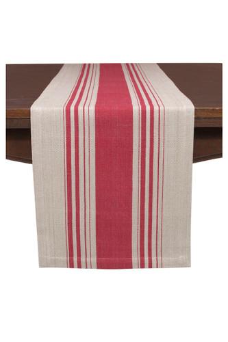 KAF Home Cote Herringbone Stripe Runner Red/Flax