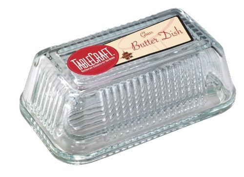 Tablecraft Ribbed Glass Butter Dish