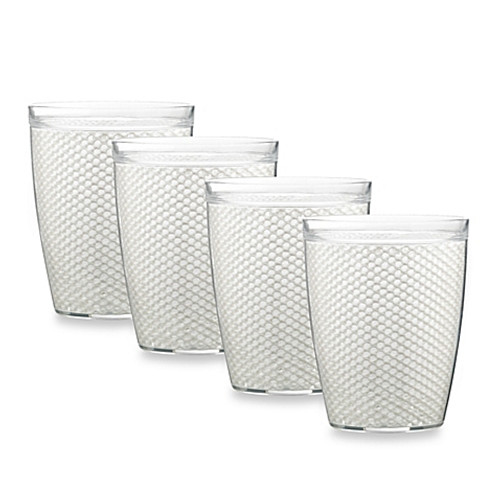 Kraftware™ Fishnet 14 Oz. Doublewall Drinkware in White (Set of 4)