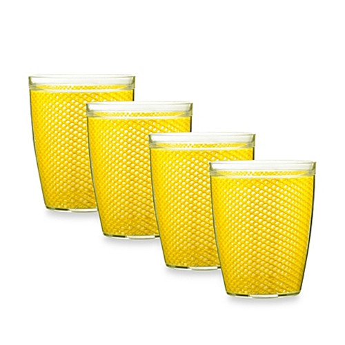 Kraftware™ Fishnet 14 Oz. Doublewall Drinkware in Yellow (Set of 4)