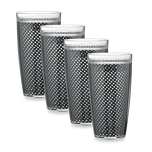 Kraftware™ Fishnet 22 Oz. Doublewall Drinkware in Black (Set of 4)