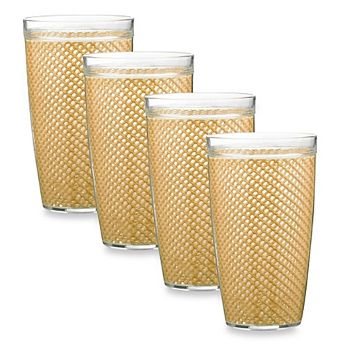 Kraftware™ Fishnet 22 Oz. Doublewall Drinkware in Carmel (Set of 4)