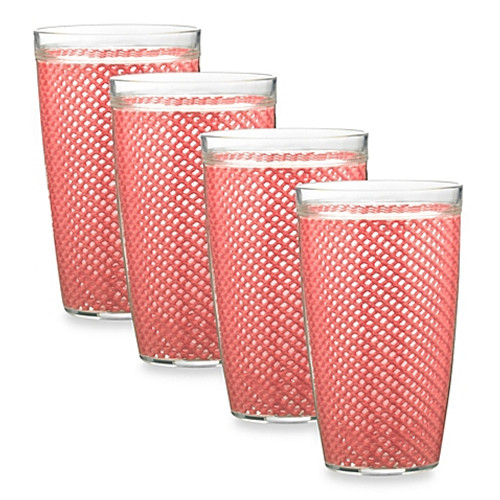 Kraftware™ Fishnet 22 Oz. Doublewall Drinkware in Honeysuckle (Set of 4)