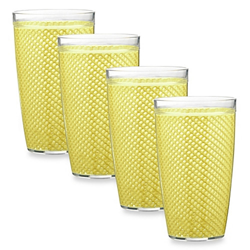Kraftware™ Fishnet 22 Oz. Doublewall Drinkware in Lemon (Set of 4)
