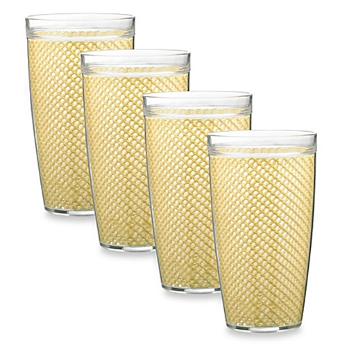 Kraftware™ Fishnet 22 Oz. Doublewall Drinkware in Ivory (Set of 4)