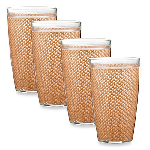 Kraftware™ Fishnet 22 Oz. Doublewall Drinkware in Toffee (Set of 4)