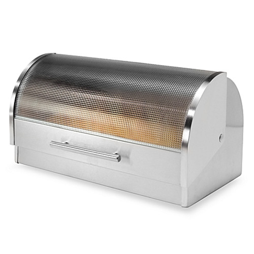 Oggi™ Stainless Steel Glass Roll Top Bread Box