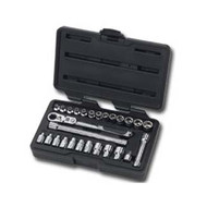 27 Piece 1/4 in  Drive GearRatchet Set with Locking Flex Handle