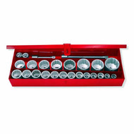 1 IN DR 12-PT CHROME SOCKET SET 1-1/16 IN TO 3-1/2 IN W/ACCESSORIES IN METAL BOX; 27 PC