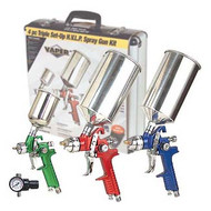 4 PC H.V.L.P. Color Coded Spray Gun Kit w/Aluminum Case
