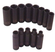 12pc 3/8 in dr. 6 Point Deep Impact Socket Set Metric