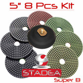 "5"" Stadea Diamond Polishing Pads Kit Wet Granite Concrete Stone, Series Super B"