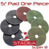 "5"" WET/DRY PRO Diamond Polishing Pads Granite Stone Set"