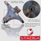 "Diamond Profile Grinding Wheels Bits Radius Demi B40 1 1/2"" Marble Stone Granite Profile Edges By STADEA"