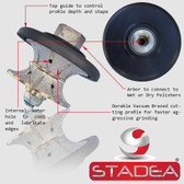 "Stadea Diamond Hand Profiler Wheel Full Bullnose Granite Countertop Edge Profile, V30 1-1/4"""