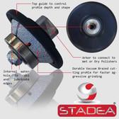 STADEA Diamond Profile Wheel 3/8 inch Bevel E10 Router Bit For Marble Stone Granite Edges M14 Arbor