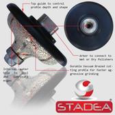 "Stadea Diamond Hand Profiler Wheel Ogee Granite Countertop Edge Profile, F30 1-1/4""  M14 Arbor"