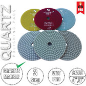 Stadea 3-Step Diamond Polishing Pads for Quartz Engineered Stone Wet Polishing, Series Super Q