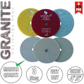"Stadea 3-Step 5"" Diamond Polishing Pads for Granite Marble Glass Counter top Floor Wet Dry Polishing, Series Super G"