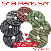 "5"" DIAMOND POLISHING PAD GRANITE MARBLE 8 PCS SET Super"