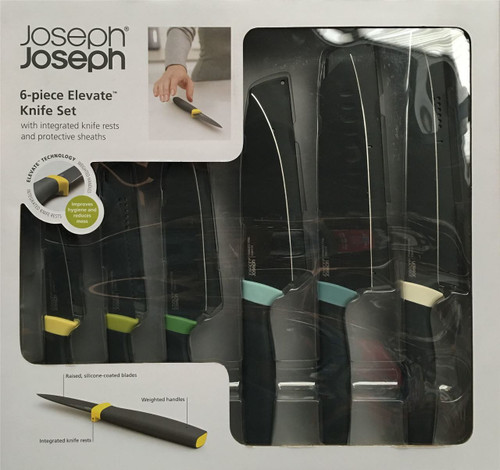 Joseph Joseph 6 Piece Elevate Knives - Integrated Knife Rests + Protective Sheaths, Multi-Color