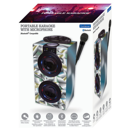 Portable Karaoke Machine with Microphone in BLACK Bluetooth Speaker System