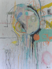 """Acrylic, Oil, Pastel and Pencil on Canvas.  Unframed.  40 x 30"""""""