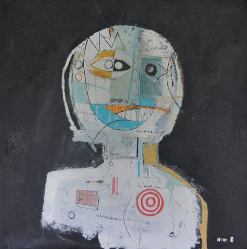 Acrylic, Oil Stick, Pastel Crayon, Pencil, Pen and Collage on Canvas.  Gallery wrapped.  30 x 30""