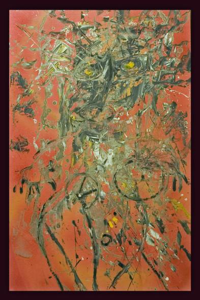 "Acrylic, Oil Stick and Spray Paint on Canvas.  32 x 22"""