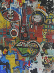 """Acrylic, Oil Stick, Pastel Crayon and Charcoal Pencil on Canvas.  Gallery Wrapped.  48 x 36"""""""