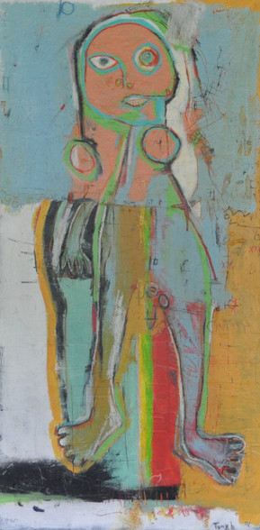 """Acrylic, Oil and Charcoal on Canvas.  Gallery Wrapped.  48 x 24"""""""