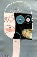 "Air Head - Mixed Media on Canvas Panel, 14 1/2 x 9 1/2"""