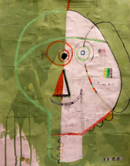 """Funny Dude - Mixed Media on Canvas Panel, 13 7/8 x 18"""""""