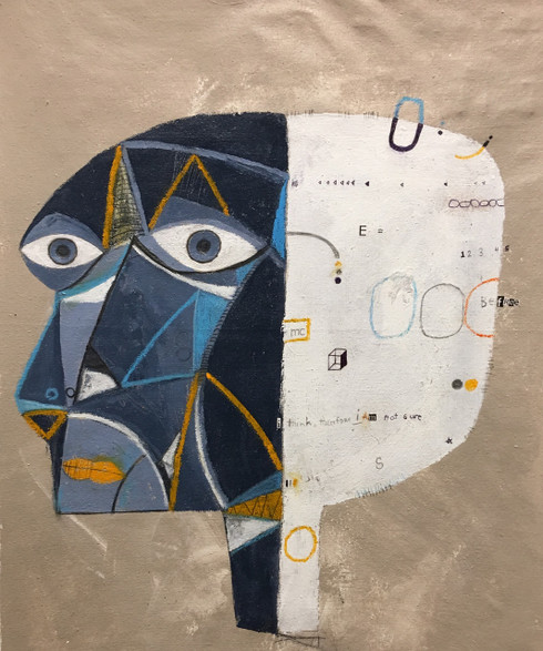 """I Think, Therefore I Am Not Sure - Mixed Media on Canvas Panel, 19 7/8 x 15 5/8"""""""